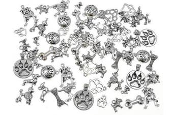 (Mixed style(Antique Silver)) - 100 Grammes Pet Charm,Assorted Dog Bone Paw Print Footprint Charm Pendant for DIY Necklace Bracelet Jewellery Making Findings(Antique Silver Tone)