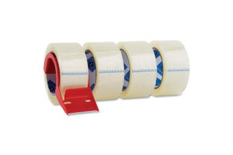 Sparco Packing Tape, with Dispenser, 7.6cm Core, 3.0mil, 2 x 55 Yards, 4 per Pack, CL (SPR64011)