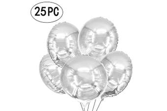 (25pc-18inch-foilballoon-silver) - AKIO CRAFT 46cm Giant Silver Round Foil Mylar Balloons Helium Metallic Balloons Baby Shower Wedding Birthday Party Favours Decorations, 25pc