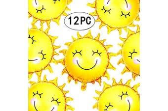 (28inch-sunballoon) - AKIO CRAFT 70cm Summer Sun Smile Foil Mylar Balloons Helium Balloon You are My Sunshine Baby Shower Birthday Party Wedding Decorations, 12pc