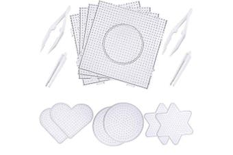 Canomo 10 Pieces (4 Shapes) Fuse Beads Boards Clear Plastic Pegboards Fuse Beads Pegboards with 4 Pieces Tweezers for 5 mm Beads