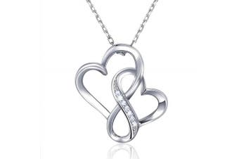 Billie Bijoux 925 Sterling Silver Infinity Double Heart Necklace Endlessness Love Platinum Plated Diamond Pendant Gift for Women