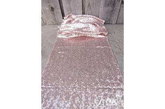 (3, Rose Gold) - TRLYC 30cm x 300cm Sequin Table Runners Rose Gold Table Runners 3 Piece