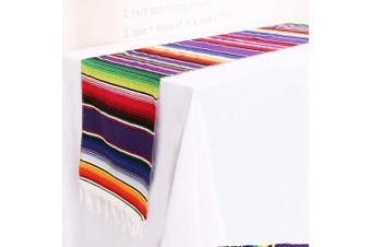 (5Pcs 36cm  x 210cm ) - TRLYC 5pcs 36cm x 210cm Mexican Serape Table Runners for Mexican Party Wedding Decorations Fringe Cotton Table Runners
