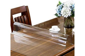 (70cm  x 120cm , 2.0mm Clear) - ETECHMART 28 x 48 Inches Clear PVC Table Top Protector, 2.0mm Thick Wipeable Waterproof Desk Pad, Heat Resistant Rectangular Table Cover for Dining Room Table