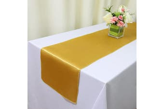 (4, Gold Satin Runner) - TRLYC 4pcs 30cm x 270cm Gold Satin Table Runners Home Party Wedding Table Decoration