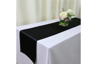 (4, Black Satin Runner) - TRLYC 4 Pieces Set 30cm x 270cm Balck Satin Table Runners Home Party Wedding Table Decoration