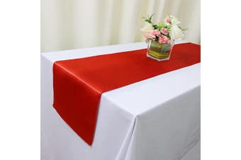 (30, Red Satin Runner) - TRLYC 30 Pieces Red Satin Table Runners 30cm x 270cm for Home Party Wedding Table Decoration