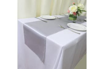 (30, Silver Satin Runner) - TRLYC 30pcs Silver Satin Table Runners 30cm x 270cm for Home Party Wedding Table Decoration