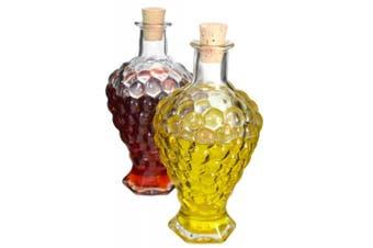 Set 2 Large 500ml Embossed Glass Grape Shaped Oil & Vinegar Cruet Bottle Set