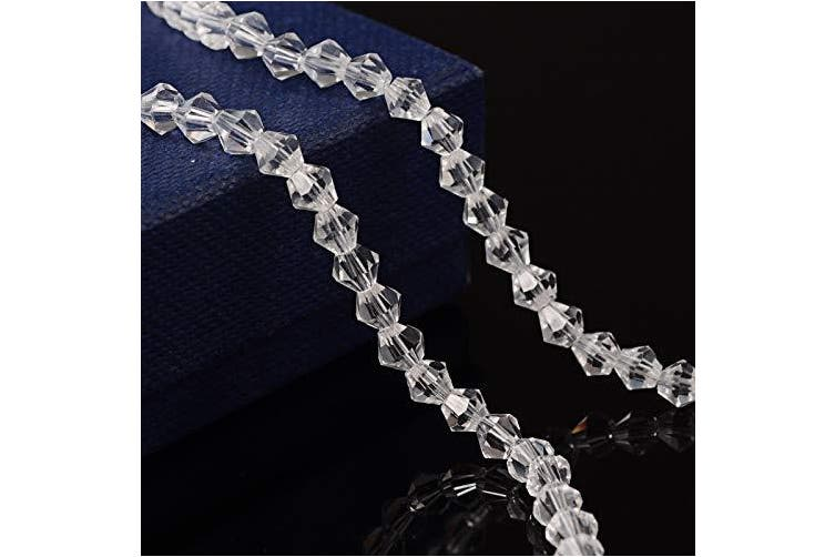 """(Bicone) - Pandahall 1630pcs/20strands 4mm Half-Handmade Transparent Glass Clear Bicone Faceted Beads Strands Loose Spacer Mini Charms with Hole for Jewellery Makings 14""""/Strand"""