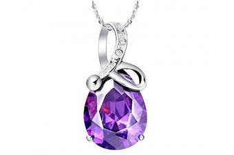 (Amethyst 172) - findout Rhodium Plated 925 Silver Austria Amethyst Crystal heart waterdrop pendant Necklace