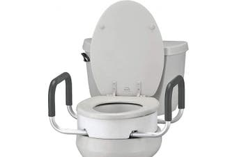 (Toilet Seat Riser with Arms, Standard) - NOVA Toilet Seat Riser with Handles, Raised Toilet Seat (For Under Seat) with Padded Arms, For Standard Toilet Seat