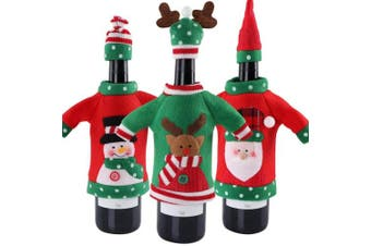 Aparty4u 3pcs Ugly Sweater Christmas Wine Bottle Cover, Handmade Sweater Wine Bottle Bags for Christmas Decorations Ugly Sweater Party Decorations Xmas Holiday Gifts
