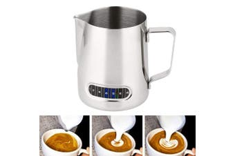 Milk Jug Frothing Pitcher with Thermometer Stainless Steel Temp Control Texturing Pot for Coffee Latte 600ml