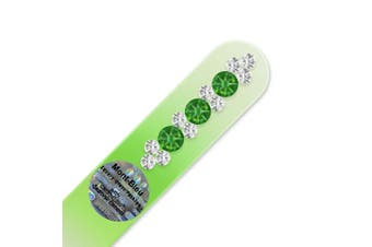 (Fern Green - Crystal) - Mont Bleu Glass Nail File hand decorated with crystals from | Handbag Size, Hand Made, Czech Tempered Glass, Lifetime Guaranty