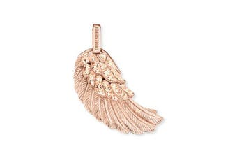 Engelsrufer Wing Pendant for Women 925-Sterling Silver Rose Gold Plated with White Crystals 29 mm