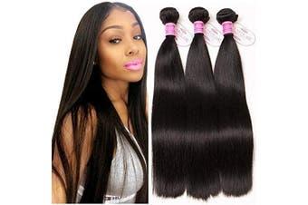 (12/2.2cm ) - ClAROLAIR Unprocessed Brazilian Hair Bundles Brazilian Straight Hair 3 Bundles 9A Straight Human Hair Bundles Natual Black Colour 300g Total 12 14 41cm