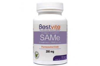 (60 Tablets) - SAMe 200mg (60 Tablets) Premium Ingredient from Italy containing more than 75% (SS) SAM-e, the highest active level available