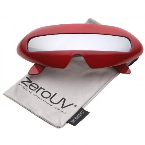 (red/silvermirror) - zeroUV - Futuristic Costume Single Shield Coloured Mirror Lens Novelty Wrap Sunglasses 70mm - 70mm Colour: red/silvermirror Create an out of this world look with these futuristic inspired sunglasses. Designed with a large wrap around style frame and a single coloured mirror shield lens, these bold sunglasses are sure to catch anyone's attention. Complete with a glossy finish and unique curved temples, these shield sunglas
