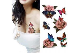 Temporary 3D Butterfly Flower Rose Tattoo Sticker Decal Ladies DIY Body Art Sexy Body Tattoo Sticker for Women & Girl Fake Tattoo