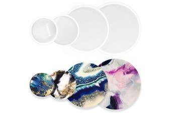 (Assorted Round 4-bundle) - Funshowcase Assorted Round Coaster Resin Epoxy Silicone Moulds 3-Bundle