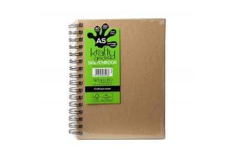 (A5 Portrait) - Artgecko Krafty Sketchbook (A5 Portrait) - 80 Pages (40 Sheets) 150gsm Acid Free White Cartridge Paper