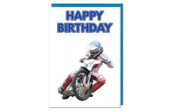 Birthday Card - Motorbike Speedway Themed - Dad - Husband - Brother - Son - Grandad - Boyfriend