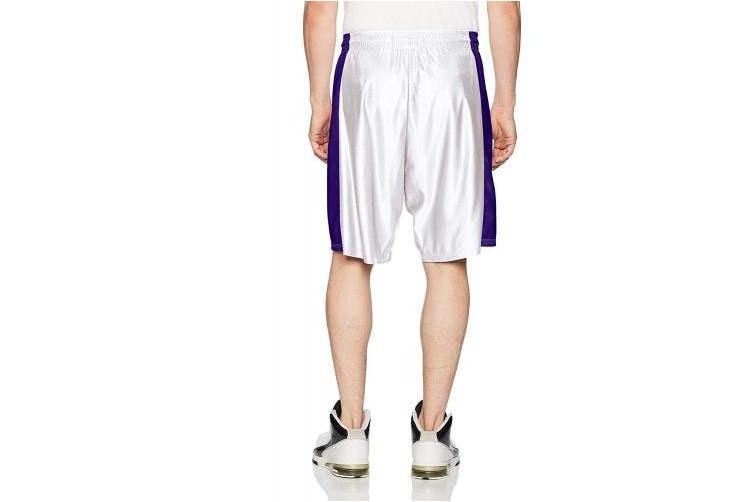 (X-Large, White/Purple) - Intensity Mens Pro Dazzle Basketball Short