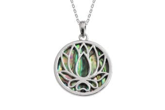 (Lotus Abalone Shell Necklace (Silver Plated)) - BellaMira - Om and Lotus - 925 Sterling Silver Abalone Shell 18k Gold Plated Necklace Earrings Jewellery Set Gift Boxed
