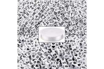 1000PCS White Letter and Number Cube Beads with 1 Roll 50M Elastic Crystal String Cord for Jewellery Making Kids DIY Necklace Bracelet (6mm)