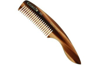 (Small) - Giorgio G85 4 ¾ in 120mm, Small Men's Fine Tooth pocket Beard & Moustache Comb for Facial hair Grooming. Hand-Made of Cellulose Acetate, saw-cut. Perfect man moustache comb. (Tortoise)