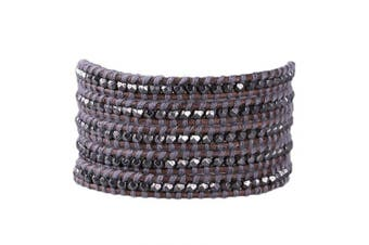 (F) - C.QUAN CHI 5 Wraps Leather Bracelet Crystal Pearl Agate Semi-Precious Stone Multilayer Bangle