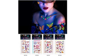 Auch Sexy Temporary Tattoos for Women, Waterproof Butterfly Tattoos, Fluorescent Tattoos Stickers for Night, Party - 5678