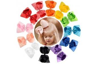 (20cm , 12PCS) - 12pcs Hair Bows for Girls 20cm Big Boutique Bow Alligator Clips Grosgrain Ribbon Hair Accessories Toddlers Kids Teens