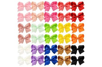 (7.6cm , 30PCS) - 30pcs Hair Bows for Girls 7.6cm Grosgrain Ribbon Boutique Bow Alligator Clips Hair Barrettes Accessories for Little Girls toddlers Kids