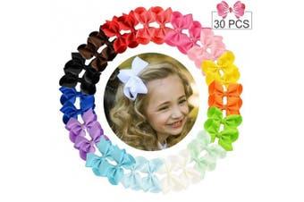 (10cm , 30PCS) - 30pcs Hair Bows for Girls 10cm Big Boutique Bow Alligator Clips Grosgrain Ribbon Hair Accessories Toddlers Kids Teens