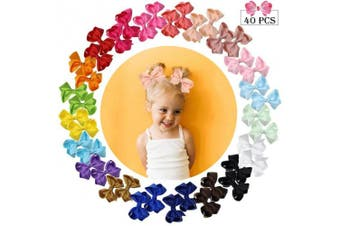 (7.6cm , 40PCS) - 40pcs Hair Bows for Girls 7.6cm Grosgrain Ribbon Boutique Bow Alligator Clips Hair Barrettes Accessories for Little Girls toddlers Kids