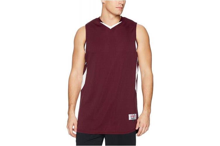 (3X-Large, Maroon/White) - Intensity Mens Weave Basketball Jersey