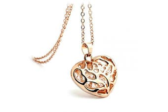 (Rose Gold) - BellaMira Silver Plated 14K Rose Gold Plated Sterling Silver (as chosen) Heart Pendant Crystals Necklace