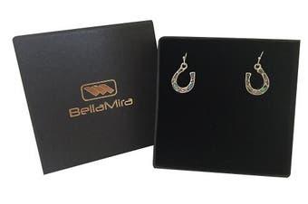 (Earrings) - Mirabella BellaMira - Horseshoe - Lucky Pendant Abalone Shell Sterling Silver Rose Gold Necklace Earrings Jewellery Set Gift Boxed