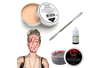 (Scar Wax/Fx Blood) - COKOHAPPY Halloween Party Stage Special Effects Wound Scar Nude Colour Putty/Wax (50ml) + Fake Scab Blood (20ml) + Oil (5ml) + Spirit Gum Adhesive + Spatula Tool Family Makeup Kit