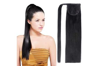 (46cm -100g, Natural Black(1B#)) - 46cm Ponytail Hair Extensions Straight Wrap Around Clip in Ponytail Synthetic Hairpiece for Women 100g (Natural Black)