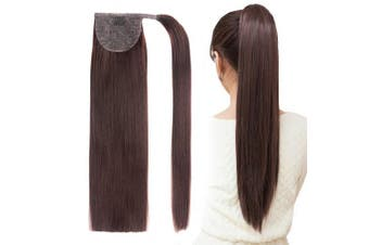 (46cm -70g, Chocolate Brown(4#)) - 46cm Ponytail Hair Extensions Straight Wrap Around Clip in Ponytail Synthetic Hairpiece for Women 70g (Chocolate Brown)