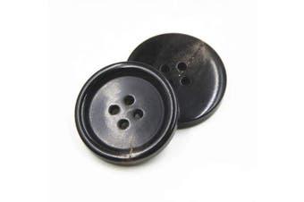 (28mm, Black) - 10PCS Clothes Buttons - Fashion Horn Sewing Button 4 Holes Round Shaped Button Set for Men Women Sweaters, Uniform, Shirt, Blazer, Coat and Jacket (Black, 28mm)