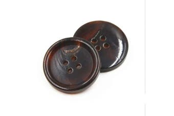 (28mm, Coffee) - 10PCS Clothes Buttons - Fashion Horn Sewing Button 4 Holes Round Shaped Button Set for Men Women Sweaters, Uniform, Shirt, Blazer, Coat and Jacket (Coffee, 28mm)