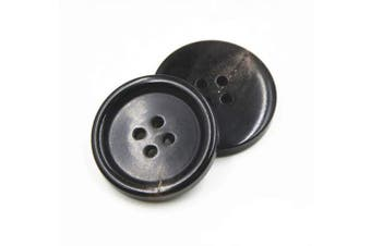 (15mm, Black) - 10PCS Clothes Buttons - Fashion Horn Sewing Button 4 Holes Round Shaped Button Set for Men Women Sweaters, Uniform, Shirt, Blazer, Coat and Jacket (Black, 15mm)