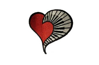 (Small, Multicolored 1) - Heart Piano Patch Iron on Embroidered Appliques for Clothes (Small, Multicoloured 1)