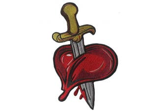 (Large, Multicolored 3) - Heart Patch with Sword and Blood Iron on Embroidered Appliques (Large, Multicoloured 3)