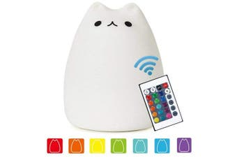(White) - Cat Lamp, NeoJoy Remote Control Silicone Kitty Night Light for Kids Toddler Baby Girls Rechargeable Cute Kawaii Nightlight